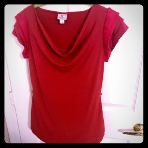Ruffled SS top with cowl neck. Super flattering.